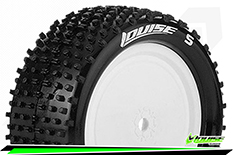 Louise RC - E-HORNET - 1-10 Buggy Tire Set - Mounted - Soft - White Rims - Kyosho - Hex 12mm - 4WD - Rear - 1 Pair