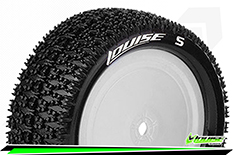 Louise RC - E-MAGLEV - 1-10 Buggy Tire Set - Mounted - Soft - White Rims - Kyosho - Hex 12mm - 4WD - Front - 1 Pair