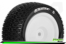 Louise RC - E-MAGLEV - 1-10 Buggy Tire Set - Mounted - Soft - White Rims - Kyosho - Hex 12mm - 4WD - Rear - 1 Pair
