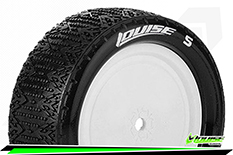 Louise RC - E-PHANTOM - 1-10 Buggy Tire Set - Mounted - Super Soft - White Wheels - Hex 12mm - 4WD - Front - L-T3178VWKF