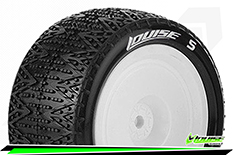 Louise RC - E-PHANTOM - 1-10 Buggy Tire Set - Mounted - Soft - White Rims - Kyosho - Hex 12mm - 4WD - Rear - 1 Pair