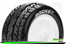 Louise RC - E-ROCKET - 1-10 Buggy Tire Set - Mounted - Soft - White Wheels - Hex 12mm - 4WD - Rear - L-T3188SWKR