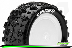 Louise RC - E-SPIDER - 1-10 Buggy Tire Set - Mounted - Soft - White Rims - Kyosho - Hex 12mm - 4WD - Front - 1 Pair