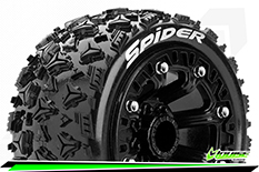 "Louise RC - ST-SPIDER - 1-16 Truck Tire Set - Mounted - Soft - Black 2.2"" Rims - REVO - SUMMIT - Savage XS Flux - Front - Rear - 1 Pair"