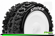Louise RC - E-SPIDER - 1-10 Buggy Tire Set - Mounted - Soft - White Wheels - Hex 12mm - 4WD - Rear - L-T3200SWKR