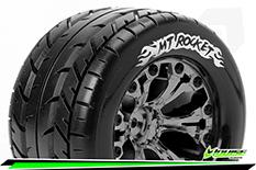 Louise RC - MT-ROCKET - 1-10 Monster Truck Tire Set - Mounted - Sport - Black Chrome 2.8 Wheels - Hex 14mm - L-T3201SBCM