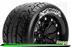 Louise RC - MT-ROCKET - 1-10 Monster Truck Tire Set - Mounted - Sport - Black 2.8 Wheels - 0-Offset - Hex 12mm - L-T3201SB