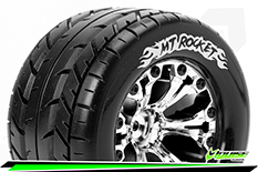 """Louise RC - MT-ROCKET - 1-10 Monster Truck Tire Set - Mounted - Soft - Chrome 2.8"""" Rims - BB - GP JATO 2WD Front - GP STAMPEDE 2WD Front - GP RUSTLER 2WD Front - 1 Pair"""