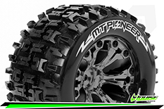 """Louise RC - MT-PIONEER - 1-10 Monster Truck Tire Set - Mounted - Soft - Black Chrome 2.8"""" Rims - Hex 14mm - ARRMA 4X4 1-10 - Front - Rear - 1 Pair"""