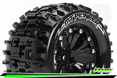 """Louise RC - MT-PIONEER - 1-10 Monster Truck Tire Set - Mounted - Soft - Black 2.8"""" Rims - 0-Offset - EP STAMPEDE 2WD Rear - EP RUSTLER 2WD Rear - EP MONSTER JAM 2WD Rear - 1 Pair"""