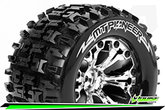 """Louise RC - MT-PIONEER - 1-10 Monster Truck Tire Set - Mounted - Soft - Chrome 2.8"""" Rims - BB - GP JATO 2WD Front - GP STAMPEDE 2WD Front - GP RUSTLER 2WD Front - 1 Pair"""
