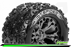 """Louise RC - MT-SPIDER - 1-10 Monster Truck Tire Set - Mounted - Soft - Black Chrome 2.8"""" Rims - Hex 14mm - ARRMA 4X4 1-10 - Front - Rear - 1 Pair"""