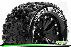 """Louise RC - MT-SPIDER - 1-10 Monster Truck Tire Set - Mounted - Soft - Black 2.8"""" Rims - 0-Offset - EP STAMPEDE 2WD Rear - EP RUSTLER 2WD Rear - EP MONSTER JAM 2WD Rear - 1 Pair"""
