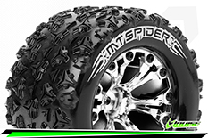"""Louise RC - MT-SPIDER - 1-10 Monster Truck Tire Set - Mounted - Soft - Chrome 2.8"""" Rims - BB - GP JATO 2WD Front - GP STAMPEDE 2WD Front - GP RUSTLER 2WD Front - 1 Pair"""
