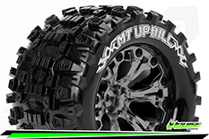 Louise RC - MT-UPHILL - 1-10 Monster Truck Tire Set - Mounted - Sport - Black Chrome 2.8 Wheels - Hex 14mm - L-T3204SBCM
