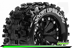 """Louise RC - MT-UPHILL - 1-10 Monster Truck Tire Set - Mounted - Soft - Black 2.8"""" Rims - 0-Offset - EP STAMPEDE 2WD Rear - EP RUSTLER 2WD Rear - EP MONSTER JAM 2WD Rear - 1 Pair"""