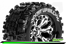 Louise RC - MT-UPHILL - 1-10 Monster Truck Tire Set - Mounted - Sport - Chrome 2.8 Wheels - Hex 12mm - L-T3204SC
