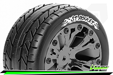 Louise RC - ST-ROCKET - 1-10 Stadium Truck Tire Set - Mounted - Sport - Black Chrome 2.8 Wheels - Hex 14mm - L-T3208SBCM