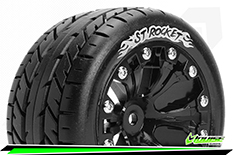 Louise RC - ST-ROCKET - 1-10 Stadium Truck Tire Set - Mounted - Sport - Black 2.8 Wheels - 0-Offset - Hex 12mm - L-T3208SB
