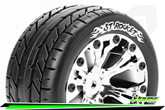 """Louise RC - ST-ROCKET - 1-10 Stadium Truck Tire Set - Mounted - Soft - Chrome 2.8"""" Rims - BB - GP JATO 2WD Front - GP STAMPEDE 2WD Front - GP RUSTLER 2WD Front - 1 Pair"""