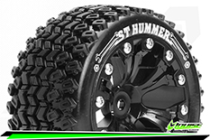 """Louise RC - ST-HUMMER - 1-10 Stadium Truck Tire Set - Mounted - Soft - Black 2.8"""" Rims - Hex 14mm - ARRMA 4X4 1-10 - Front - Rear - 1 Pair"""