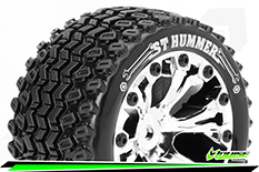 """Louise RC - ST-HUMMER - 1-10 Stadium Truck Tire Set - Mounted - Soft - Chrome 2.8"""" Rims - BB - GP JATO 2WD Front - GP STAMPEDE 2WD Front - GP RUSTLER 2WD Front - 1 Pair"""