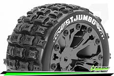 Louise RC - ST-JUMBO - 1-10 Stadium Truck Tire Set - Mounted - Sport - Black Chrome 2.8 Wheels - Hex 14mm - L-T3210SBCM