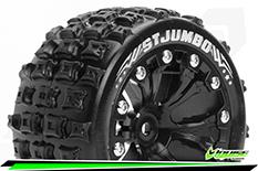 "Louise RC - ST-JUMBO - 1-10 Stadium Truck Tire Set - Mounted - Soft - Black 2.8"" Rims - Hex 14mm - ARRMA 4X4 1-10 - Front - Rear - 1 Pair"
