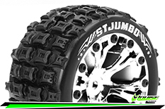 """Louise RC - ST-JUMBO - 1-10 Stadium Truck Tire Set - Mounted - Soft - Chrome 2.8"""" Rims - BB - GP JATO 2WD Front - GP STAMPEDE 2WD Front - GP RUSTLER 2WD Front - 1 Pair"""