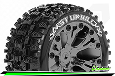 Louise RC - ST-UPHILL - 1-10 Stadium Truck Tire Set - Mounted - Sport - Black Chrome 2.8 Wheels - Hex 14mm - L-T3211SBCM