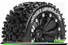 Louise RC - ST-UPHILL - 1-10 Stadium Truck Tire Set - Mounted - Sport - Black 2.8 Wheels - 0-Offset - Hex 12mm - L-T3211SB