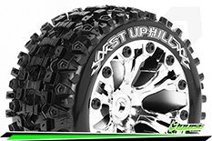 Louise RC - ST-UPHILL - 1-10 Stadium Truck Tire Set - Mounted - Sport - Chrome 2.8 Wheels - 1/2-Offset - Hex 12mm - L-T3211SCH