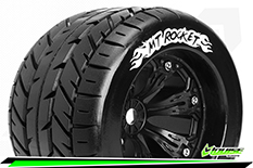 Louise RC - MT-ROCKET - 1-8 Monster Truck Tire Set - Mounted - Sport - Felgen 3.8 Schwarz - 0-Offset - Hex 17mm - L-T3217B