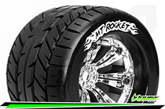 Louise RC - MT-ROCKET - 1-8 Monster Truck Tire Set - Mounted - Sport - Felgen 3.8 Chrom - 0-Offset - Hex 17mm - L-T3217C