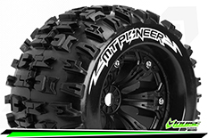 Louise RC - MT-PIONEER - 1-8 Monster Truck Tire Set - Mounted - Sport - Felgen 3.8 Schwarz - 0-Offset - Hex 17mm - L-T3218B