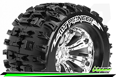 Louise RC - MT-PIONEER - 1-8 Monster Truck Tire Set - Mounted - Sport - Felgen 3.8 Chrom - 0-Offset - Hex 17mm - L-T3218C
