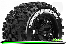 Louise RC - MT-UPHILL - 1-8 Monster Truck Tire Set - Mounted - Sport - Felgen 3.8 Schwarz - 1/2-Offset - Hex 17mm - L-T3219BH