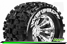 Louise RC - MT-UPHILL - 1-8 Monster Truck Tire Set - Mounted - Sport - Felgen 3.8 Chrom - 0-Offset - Hex 17mm - L-T3219C