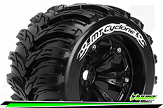 Louise RC - MT-CYCLONE - 1-8 Monster Truck Tire Set - Mounted - Sport - Felgen 3.8 Schwarz - 1/2-Offset - Hex 17mm - L-T3220BH