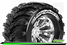 Louise RC - MT-CYCLONE - 1-8 Monster Truck Tire Set - Mounted - Sport - Felgen 3.8 Chrom - 0-Offset - Hex 17mm - L-T3220C