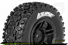Louise RC - SC-UPHILL - 1-10 Short Course Tire Set - Mounted - Soft - Black Rims - ASSOCIATED SC10 - Front - 1 Pair