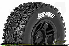 Louise RC - SC-UPHILL - 1-10 Short Course Tire Set - Mounted - Soft - Black Rims - TRX SLASH - Front - 1 Pair