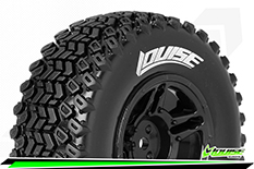 Louise RC - SC-HUMMER - 1-10 Short Course Tire Set - Mounted - Soft - Black Rims - TRX SLASH - Front - 1 Pair