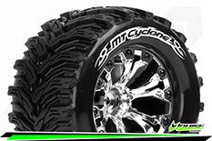 Louise RC - MT-CYCLONE - 1-10 Monster Truck Tire Set - Mounted - Soft - Chrome 2.8 Wheels - 1/2-Offset - Hex 12mm - L-T3226SCH