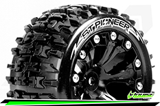Louise RC - ST-PIONEER - 1-10 Stadium Truck Tire Set - Mounted - Soft - Black 2.8 Wheels - 1/2-Offset - Hex 12mm - L-T3227SBH