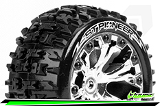 Louise RC - ST-PIONEER - 1-10 Stadium Truck Tire Set - Mounted - Soft - Chrome 2.8 Wheels - 1/2-Offset - Hex 12mm - L-T3227SCH