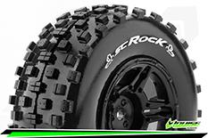 Louise RC - SC-ROCK - 1-10 Short Course Tire Set - Mounted - Soft - Black Rims - ASSOCIATED SC10 - Front - 1 Pair