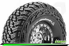 Louise RC - CR-GRIFFIN - 1-10 Crawler Tire Set - Mounted - Super Soft - Black Chrome 1.9 Wheels - Hex 12mm - L-T3230VBC