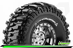 "Louise RC - CR-CHAMP - 1-10 Crawler Tire Set - Mounted - Super Soft - Black Chrome 1.9"" Rims - Hex 12mm - 1 Pair"