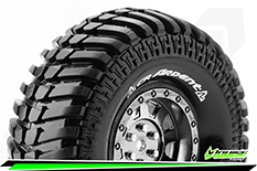 "Louise RC - CR-ARDENT - 1-10 Crawler Tire Set - Mounted - Super Soft - Black Chrome 1.9"" Rims - Hex 12mm - 1 Pair"
